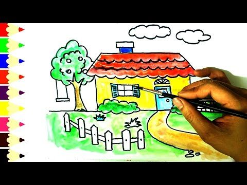 How To Draw and Paint House for kids, Tree In The Garden for Children to Learn Colors