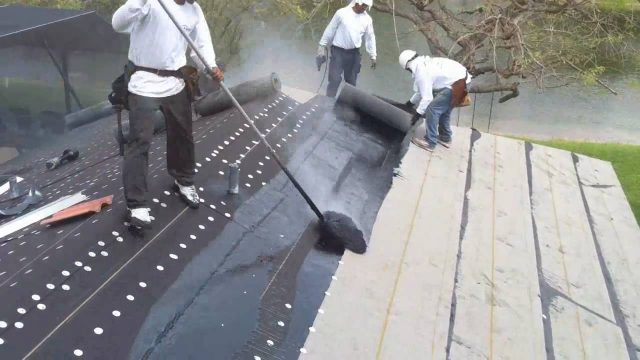 New Roofing – Roof 90lb hotmop Installation and Roof tile loading