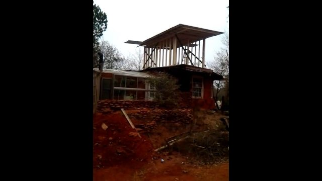 Living roof concrete sheets November cob house update