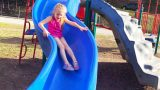 Playing at the Park on the Playground for Kids & Children W/ Slides, Swings, Climbing and Dinosaurs