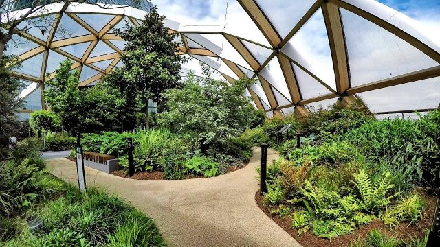 London Walk Around. The Roof Garden of Crossrail Place in Canary Wharf